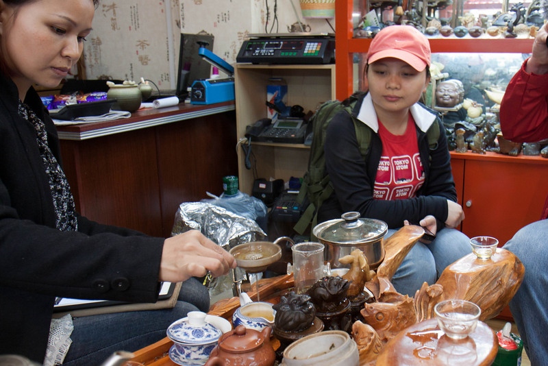 tea tasting in Wuhan near river.  I bought some jasmine and ginseng-oolong.