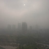 nice sunny day in Wuhan.  Sun just making it through the smog.