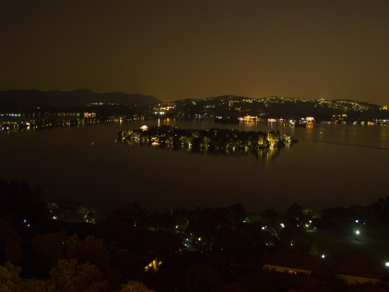 view from tower towards West Lake.