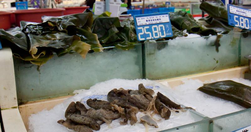 sea weed and sea cucumbers.