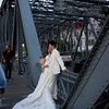 As many as five brides at one time were being photographed on this one bridge on Sunday.