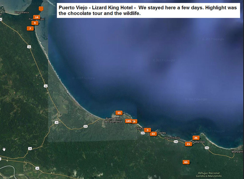 Locations of photos taken in Puerto Viejo