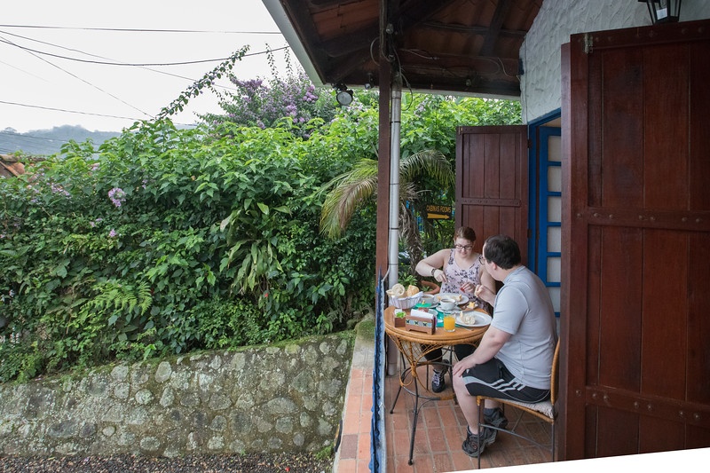 Matt and Melissa eating breakfast the first morning before our 4 hour drive to Puerto Viejo