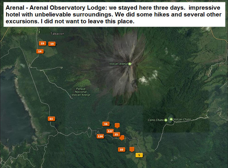 Photo locations in Arenal area.