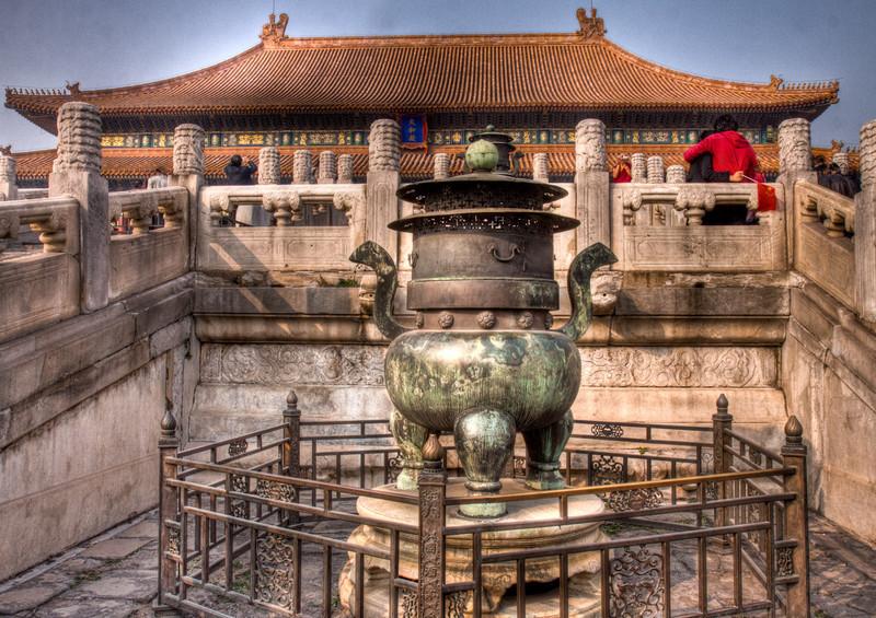 large incense burner inside forbidden city.