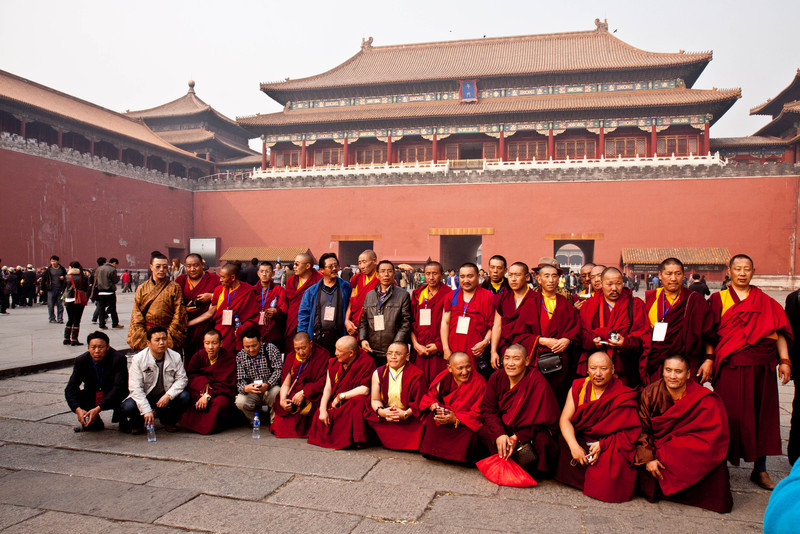 Photo being taken in front of entrance to Forbidden City.