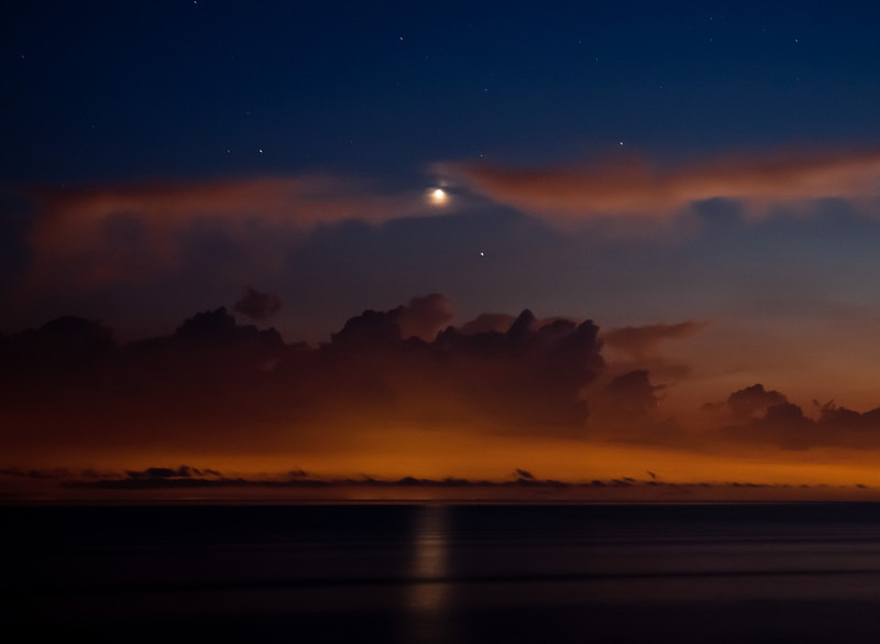 Venus setting over Cape Code Bay.