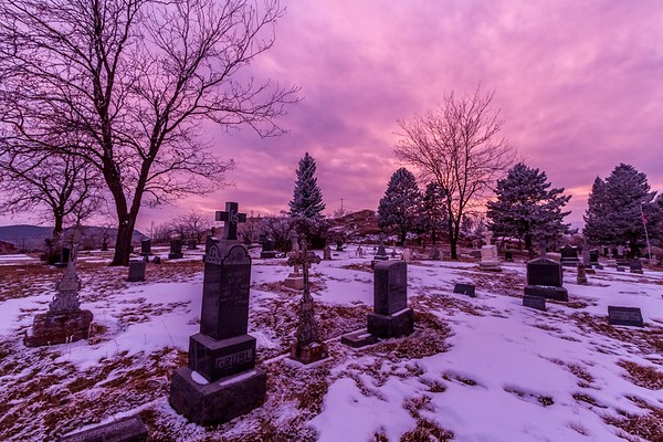 Sunset over Saint Aloysius Cemetery in Sturgis
