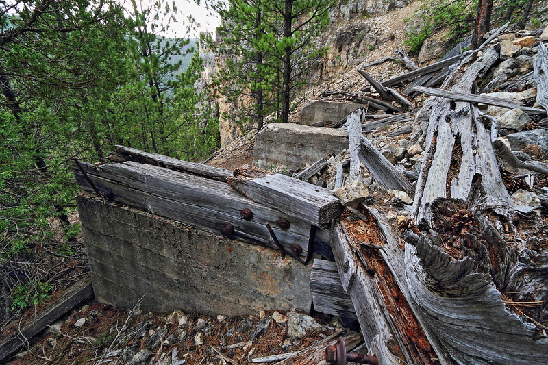 Remnants of one of the twin trestles at Seven Mile Bend in Spearfish Canyon - abandoned after being washed out by flash flood in 1933