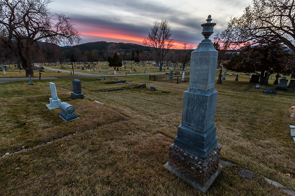 Sunset over the Rose Hill Cemetery in Spearfish
