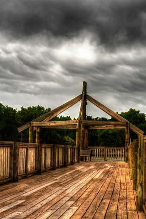 Storm clouds over the docks on the causeway in Pierre