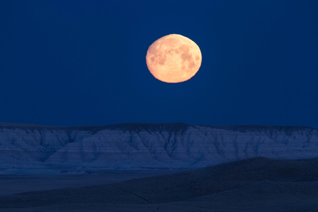 Moonset over the Badlands