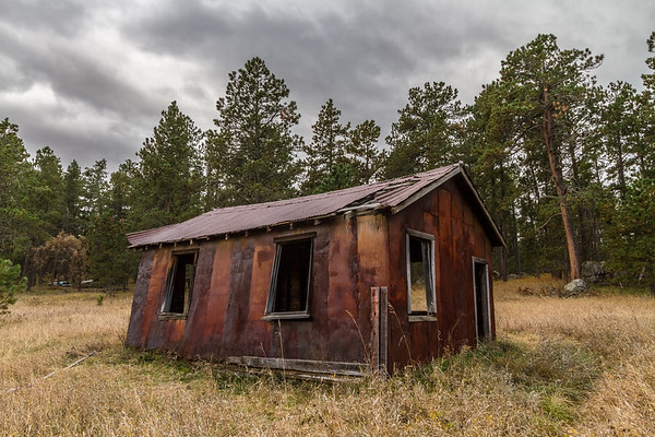 Old building at the ghost town of Spokane