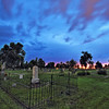 Cloudy sunset over the Rose Hill Cemetery in Spearfish