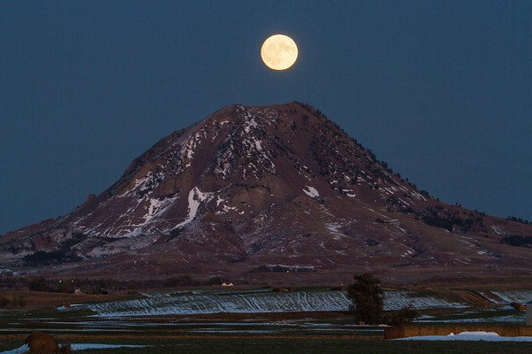 Moonrise over Bear Butte