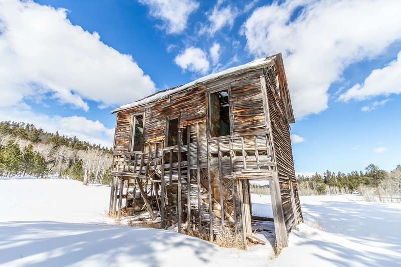 Old building at the ghost town of Preston north of Terry Peak