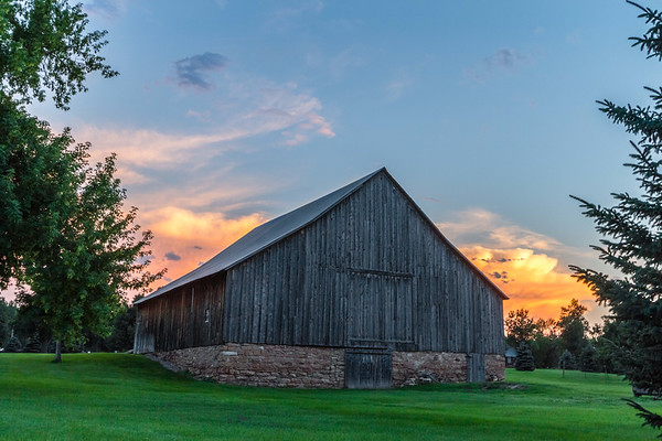 Sunset over a barn in Spearfish