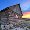 Sunset over a cabin at the High Plains Western Heritage Center in Spearfish