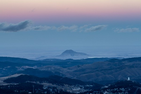 Evening sky over Bear Butte viewed from Terry Peak