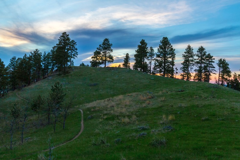 Evening sky over the trail to Lookout Mountain in Spearfish