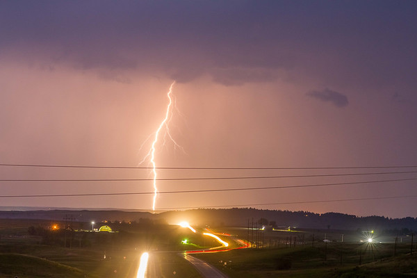 Lightning over Highway 85 north of Spearfish