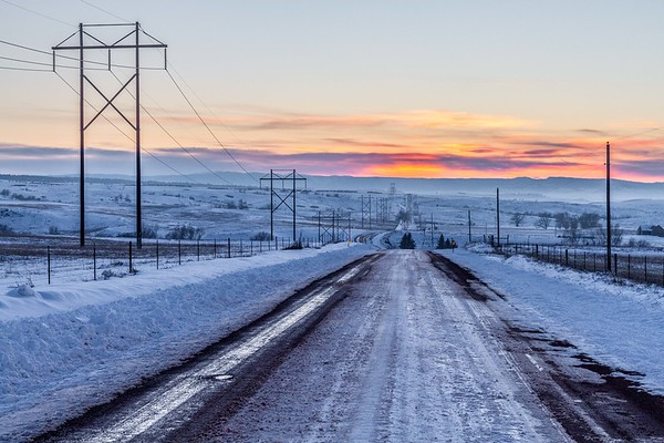 Sunset over Homestake Road west of Spearfish