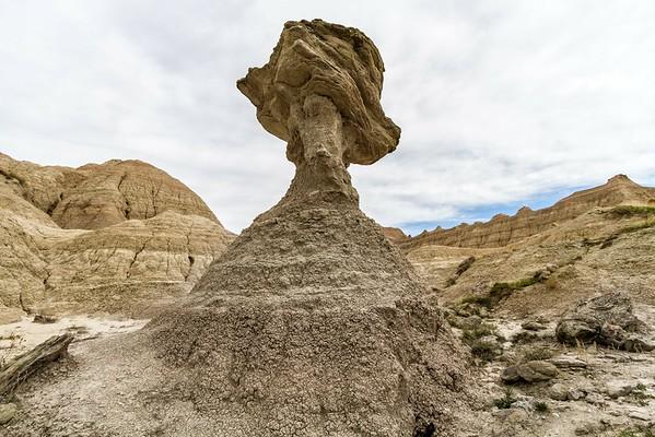 Balanced rock in Badlands National Park