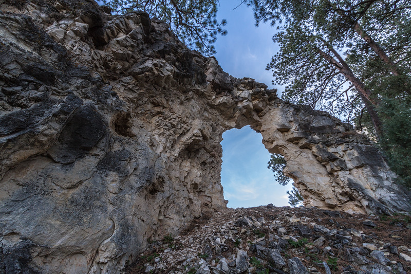 Natural arch along the rim of Spearfish Canyon