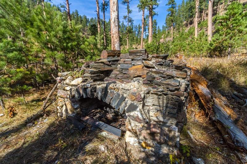 Fireplace ruins along the Deerfield Trail