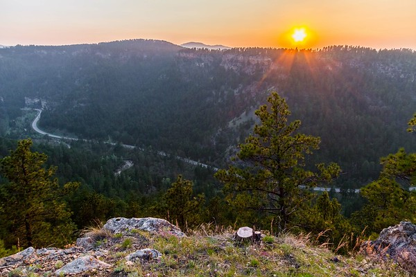 smokey sunset over Spearfish Canyon