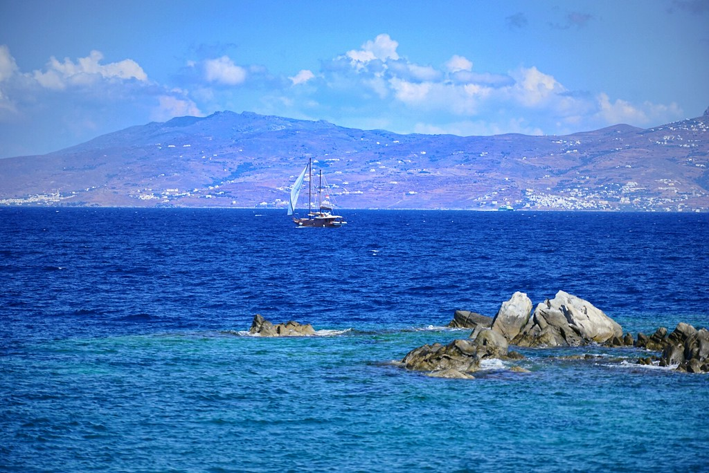 Delos, Greece, aegean, sea, landscape, seascape, HDR, sailboat, clouds