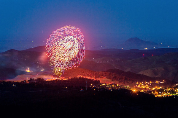 4th of July fireworks over Lead 2019 - viewed from Terry Peak