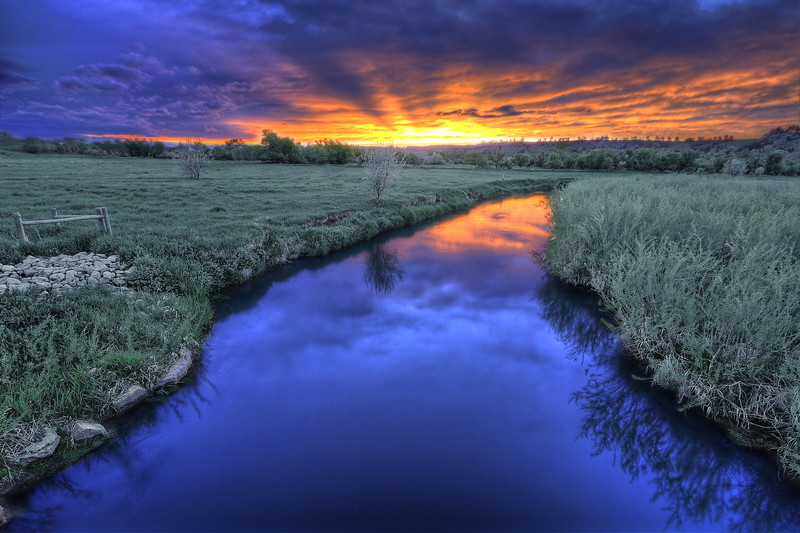 Sunset over the Redwater River north of Spearfish