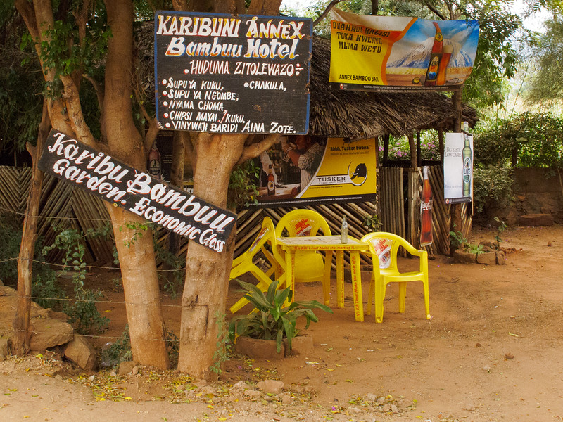 A typical evening for a local bar at the foot of the Pare Mountains.  Tanzania 2013.