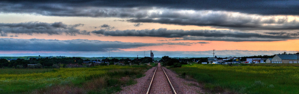 Railroad tracks leading into Pierre