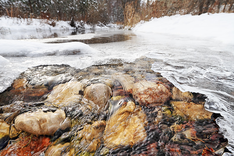 Ice forming on Spearfish Creek