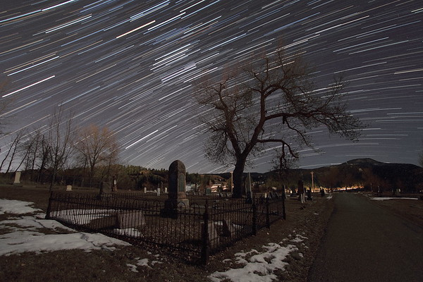 Star trails over Rose Hill Cemetery