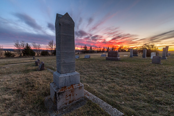 Sunset over the Little Dane Church Cemetery