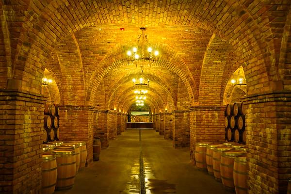 Castello di Amorosa wine cellar