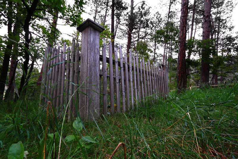 Fence around a grave in the Harney Cemetery