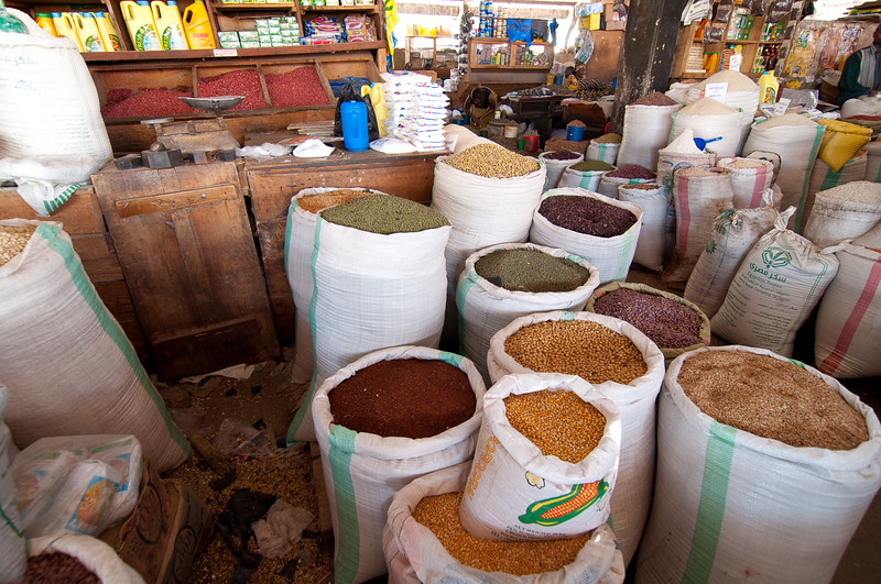 Markets can be big and organized or tacked together just off the road.  They can be permanent and open regularly, or travel and only come to town every once in awhile.  The very well stocked Moshi central market is one of the former.  Tanzania 2012.