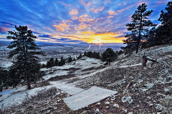 """Sunset over the """"H"""" near Lookout Mountain in Spearfish"""