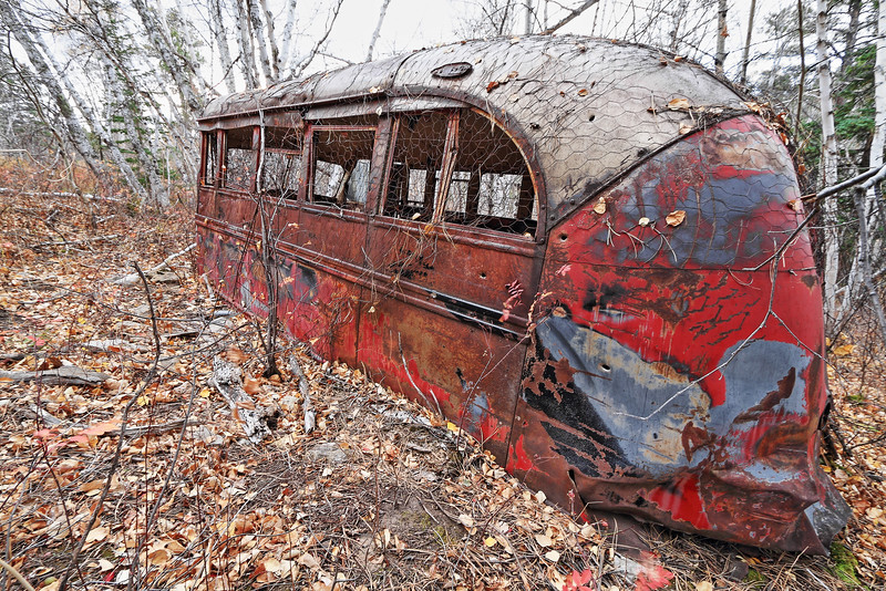 Old abandoned bus at the ghost town of Carbonate