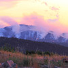 Crow Peak fire at sunset