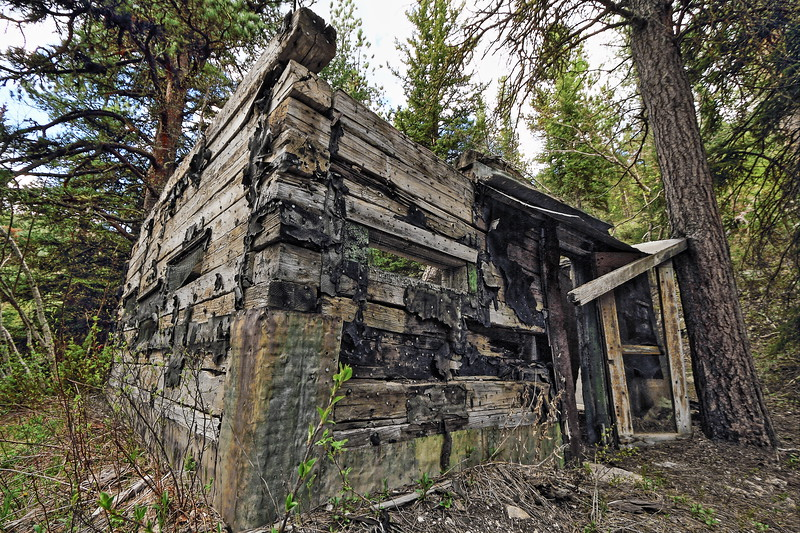 George Morrisey's cabin built sometime in the late 1920's made from railroad ties in Lost Camp Gulch between Annie Creek and Terry Peak