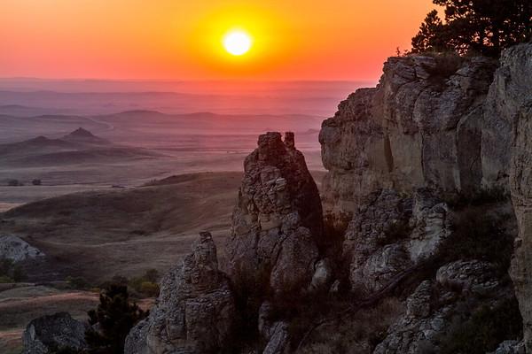 Sunset over the Slim Buttes near Reva