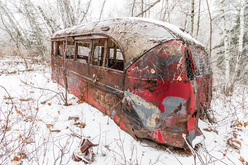 Abandoned bus near the old mining camp of Carbonate