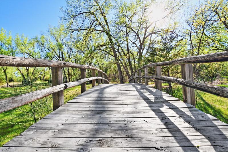 Bridge along the Cottonwood Path at the Oahe Downstream Recreation Area