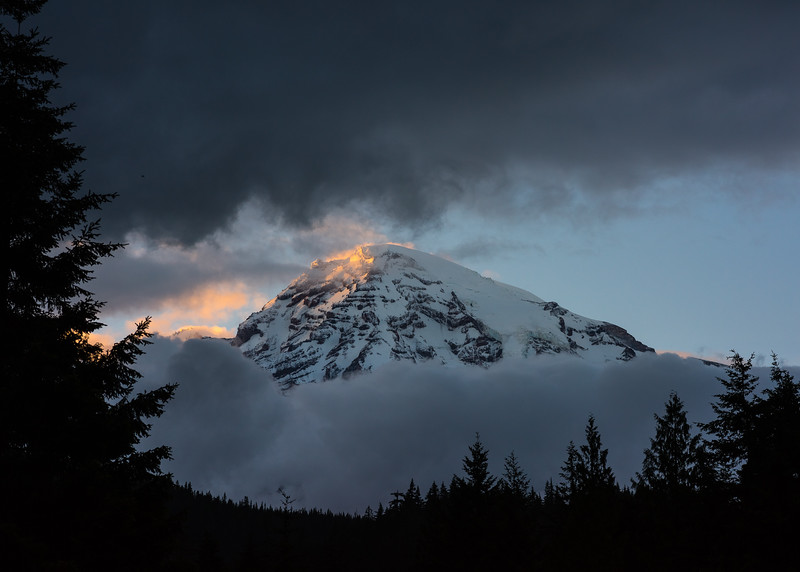 Mt. Rainer peaking through the clouds for only a few minutes at sunset.  Mt Rainer National Park, 2016.