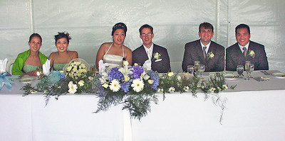 2002 : Newlyweds and attendants at the reception head table.